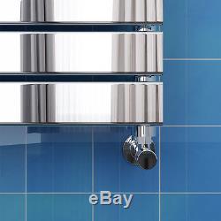 Chrome Heated Bathroom Flat Panel Towel Rail Rad Radiator Central Heating Towel