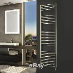 Chrome Heated Towel Rails Bathroom Radiator Curved Ladder 5 Year Guarantee