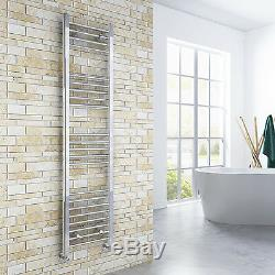 Chrome Straight Panel Radiator Heated Bathroom Central Heating Towel Rail