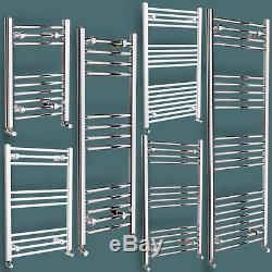 Chrome & White Designer Towel Rail Bathroom Central Heating Radiator with Valves