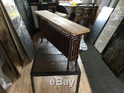Column Designer Radiator Hammered Copper With Oak Bench 550/1150/240 3300 BTU