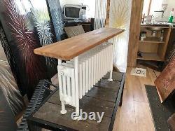 Column Designer Radiator White With Oak Bench 550/1150/240 3300 BTU