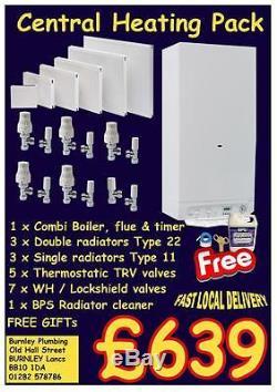 Combi Boiler Trv Lockshields Radiators Complete Central Heating Radiator Pack