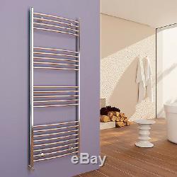 Curved Chrome Heated Towel Rail Rad Radiator Central Heating Bathroom Warmer