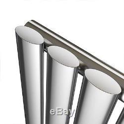 Denver Chrome 1800x240 Vertical Oval Designer Radiator Central Heating