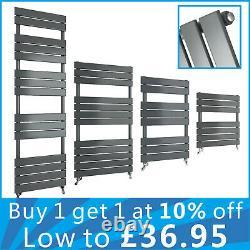 Designer Anthracite Flat Panel Heated Towel Rails Bathroom Ladder Radiator UK