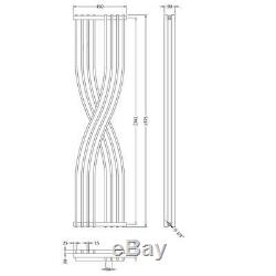 Designer Central Heating Vertical Radiator 1775mm H x 450mm W Gloss Black