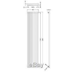 Designer Central Heating Vertical Radiator 1800mm H x 360mm W Gloss Silver