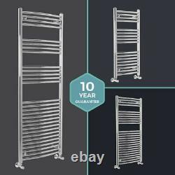 Designer Chrome Curved Bathroom Heated Ladder Towel Rail Rad Radiators ALL SIZES