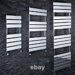 Designer Flat Panel Heated Bathroom Towel Rail Radiator Chrome White Grey