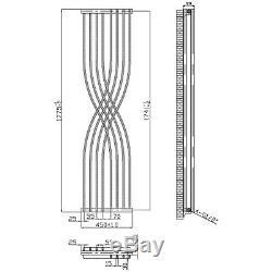 Designer Geometric Vertical Central Heating Radiator 1775mm x 450mm Anthracite