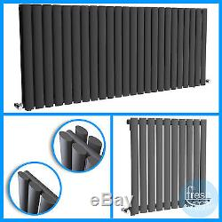 Designer Horizontal Anthracite Oval Panel Radiators Bathroom Central Heating