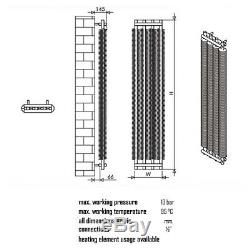 Designer Light Grey Coil Vertical Tube Wall Radiator Central Heating Carisa