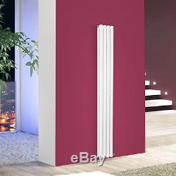 Designer Radiator Double Panel Oval Column Modern Gloss White Central Heating