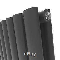 Designer Radiator Vertical Anthracite Flat Panel Oval Column Panel Upright Rads