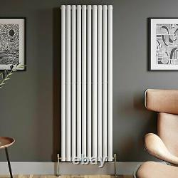 Designer Radiator Vertical White Oval Column Rads Double Panel 1800x600mm