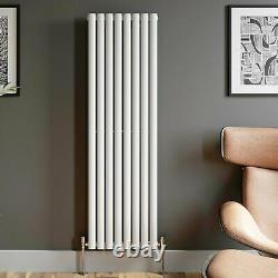 Designer Radiator Vertical White Oval Column Rads Single Panel 1600x480mm