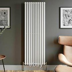Designer Radiator Vertical White Oval Column Rads Single Panel 1800x600mm
