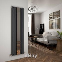 Designer Radiator With Mirror Central Heating Iron 1800500mm Anthracite Valve