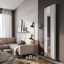 Designer Tall Vertical Radiator Mirror Oval Column Panel Radiator White 1800mm