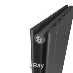 Designer Vertical Radiator Anthracite Flat Column Tall Upright Central Heating