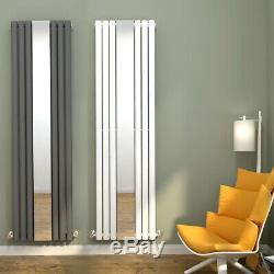 Designer Vertical Radiator Mirror Oval Column Panel White Anthracite 1800x500mm
