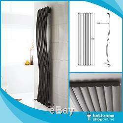 Designer Wave Black Column Radiators Vertical Central Heating Panel
