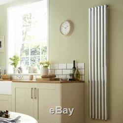 Dorney Single Vertical Column Central Heating Radiator 1800mm x 472mm Chrome