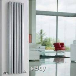 Double Designer Central Heating Vertical Radiator 1500mm x 354mm Gloss Silver