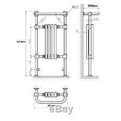 ENKI 963x493mm Traditional Bathroom Central Heated Towel Rail 4 Column Radiator