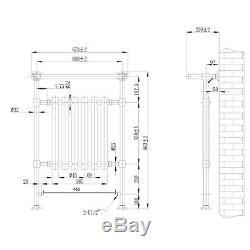 ENKI 963x673mm Traditional Bathroom Central Heated Towel Rail Chrome Radiator