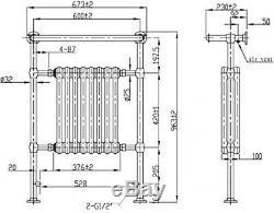 ENKI Traditional Victorian Bathroom Central Heated Towel Rail Chrome Radiator