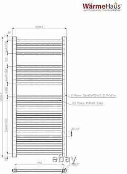 Electric Heated Bathroom Towel Rail Warmer Radiator Chrome 1100 x 500 mm