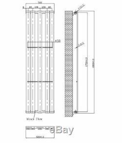 Flat Designer Vertical Central Heating Radiator 1800mm x 500mm Anthracite