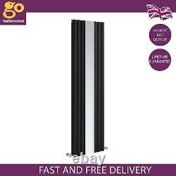 Gala Designer Vertical Radiator Mirror Oval Panel Tall Column Black 1800mm