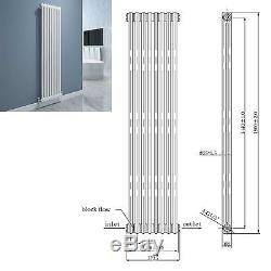 HEATHER White 1500x372 Vertical Double Column Designer Radiator Central Heating