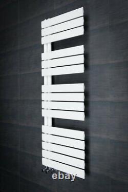 Heated Towel Rail Bathroom Radiator Designer Flat Panel Grey Chrome White