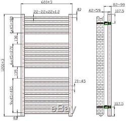 Heated Towel Rail Radiator Bathroom Central Heating Flat Panel Chrome 1200x600mm
