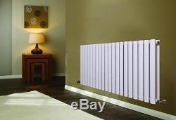 Horizontal Designer Oval Double Column Radiator Bathroom Central Heating White z