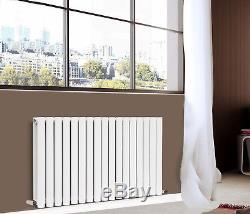 Horizontal Designer Radiator Oval Column Central Heating 600x1003mm Gloss White