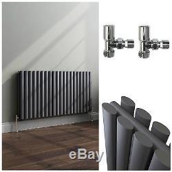 Horizontal Oval Column Central Heating Bathroom Radiators With Angled Valves
