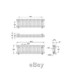 Horizontal Traditional 3 Column Radiator White 300 x 1010mm Cast Iron Style