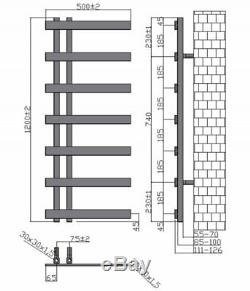 Horton Designer Bathroom Heated Towel Rail Radiator Rad 1200mm x 500mm Chrome
