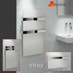 Kudox Ikon Designer White Heated Towel Rail Radiator with Chrome Towel Bar