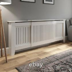 MDF Radiator Cover Wall Cabinet Adjustable Wood White Vertical Style Modern