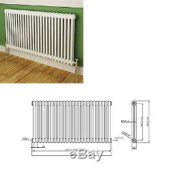 Maine White 600x1164 Horizontal Double Column Designer Radiator Central Heating