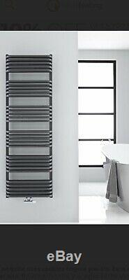 Milano Bow Anthracite D Bar Central Heated Towel Rail 1533 X 500mm 5745 BTUs