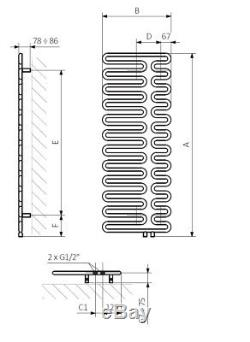 Modern Black Vertical Designer Radiator 1244mm x 465mm Central Heating Terma