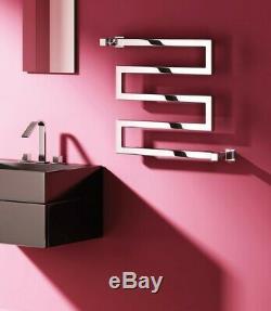 Modern Designer Chrome Straight Square Heated Towel Rail Bathroom Radiator Reina