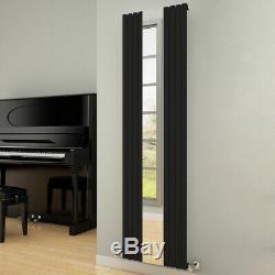 Modern Designer Mirror Black Polished Vertical Single Radiator Central Heating